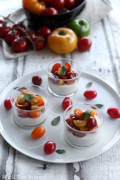 Crémeux de mozzarella aux tomates cerise colorées