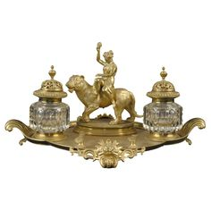 Napoleon III Period Gilt-Bronze and Crystal Inkwell Set, c. 1870  France