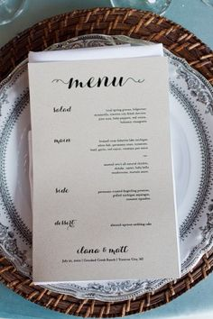 Simple Reception Menu Card - still love the fonts and the rattan charger for the rehearsal dinner