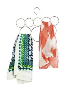 Organize your scarves and keep them wrinkle-free with this handy scarf hanger, used by Taniya Nayak, host of HGTV Urban Oasis. Clever Kitchen Storage, Kitchen Storage Solutions, Sewing Room Storage, Clothes Storage, Hgtv Star, Scarf Hanger, Multifunctional Furniture, Paper Clutter, Homekeeping