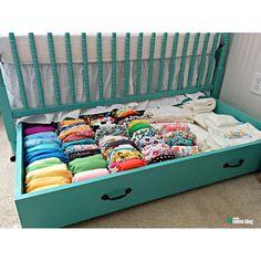 Under the crib drawer~ great idea
