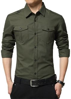 Buy JZOEOEU Men's Casual Dress Shirt Long Short Sleeve Slim Fit Button Down Shirts - Army Green 6620 - and shop more latest Men's Shirts all over the world. Long Sleeve Shirt Dress, Long Sleeve Shirts, Dress Shirts, Men's Shirts, Casual Shirts For Men, Men Casual, Men's Slim Fit Shirts, Chemise Fashion, Camisa Slim