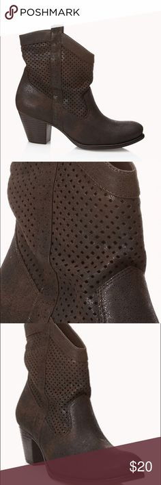 nwot f21 Suede Western Redux Booties Faux dark brown realistic looking quality and feel, burnout style and shimmer in the light. Really comfortable for forever 21 because of the thick heel. Perforated mesh cutouts, cowboy boot style.  New without tags! Forever 21 Shoes Ankle Boots & Booties