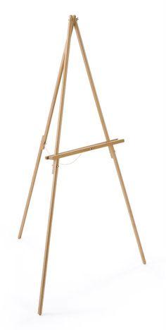 Wood Display Easel for Floor, Standard Tripod Design, 34 x 59.5 - Natural