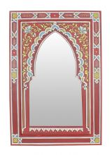 Moroccan Arched Mirror Zouak Wood Red Hand Painted Medium 60 cm x 40 cm Moroccan Mirror, Decorative Borders, Frame Crafts, Book Of Shadows, Local Artists, Hand Engraving, Morocco, Hand Painted, Mirrors