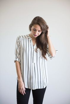 Vertical Striped Button Up Blouse
