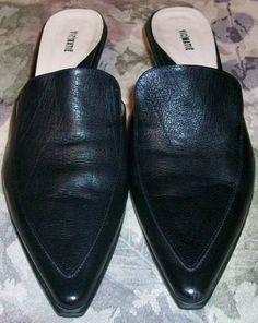 VIC MATIE Black Low Heel Slide Woman's Dress Shoe Made in Italy Size 39 1/2 #VICMATIE #Slides