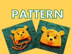 Winnie The Pooh Hat Crochet Pattern. Beanie and Earflap. ALL Sizes. From Preemie To XL Adult.