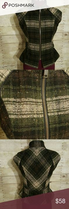CAbi Green Plaid Cap Sleeve Vest CAbi green plaid cap sleeve vest, full zip front, belted back with snap closure, fully lined, two front pockets. CAbi Jackets & Coats Vests