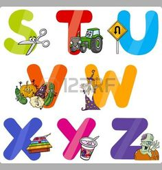 Cartoon Illustration of Funny Capital Letters Alphabet with Objects for Language and Vocabulary Education for Children from S to Z photo
