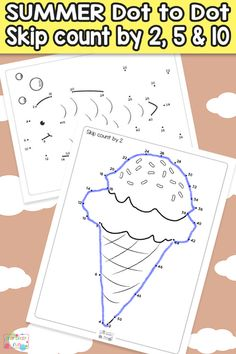 Summer Dot to Dot Skip Counting Worksheets - by 2s, by 5s and by 10s. These are super fun and engaging math worksheets for kindergarten, 1st grade and 2nd grade.
