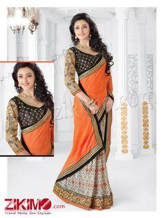 Alluring Orange and Black Chiffon Saree With Blouse