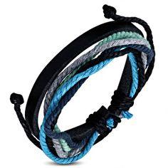 Leren armband voor heren met ;GRIJZE, MINTGROENE ;en blauwe accenten, de leren…