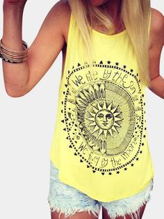 Yellow Disk Letter Pattern Round Neck Casual Tank Top - Get Shop Letter Patterns, Yellow Pattern, Cropped Tank Top, Buy Dress, Fitness Fashion, Beautiful Outfits, Amazing Women, Tank Tops, Blouses