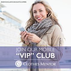 """Join our mobile """"VIP"""" club today for a chance to win a $25 gift card to Clothes Mentor Palm Harbor! Text """"CMPH"""" to """"49798"""". Members get early access to our fabulous sales and promotions. Become a """"VIP"""" today!! #clothesmentorpalmharbor #vip #sales #discounts #deals"""