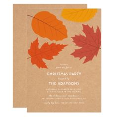 #vintage - #Rustic Country Kraft & Fall Leaves Christmas Party Card