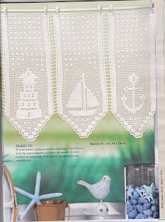 "Photo from album ""Elena Ouvrages Rideaus au crochet - on Yandex. Filet Crochet, Crochet Chart, Crochet Patterns, Crochet Anchor, Nautical Crochet, Nautical Curtains, Cool Curtains, Crochet Curtains, Crochet Doilies"