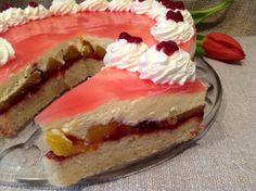 Pfirsich- Preiselbeer- Torte mit Paradiescreme