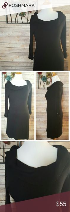 """WHBM  Black Super Soft Silk and Wool Dress Very gently worn Shawl/cowl style neckline  Button detail on the sleeve Size Large 55% Silk 35% Viscose  10% Wool  Armpit to armpit 16"""" Sleeve 18"""" Waist 14"""" Lwngth 34"""" White House Black Market Dresses"""