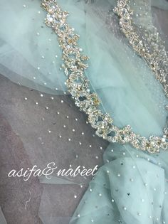 Asifa&Nabeel Hand Work Embroidery, Embroidery Suits, Hand Embroidery Designs, Pakistani Wedding Outfits, Pakistani Dresses, Punjabi Suit Neck Designs, Tambour Beading, Crystal Embroidery, Frock Design