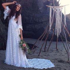 Boho Wedding Dress with Sweetheart Neckline by WearYourLoveXO