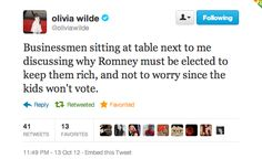 romney olivia wilde election truth vote