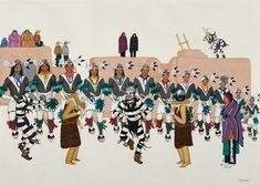 The Turtle Dance (1953), Pablita Verarde (Tse Tsan, Golden Dawn) Santa Clara. Watercolor.
