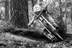 Downhill mountain biking in one picture
