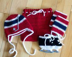 BABY HOCKEY BOYS Crocheted Navy Blue Red & White by Grandmabilt