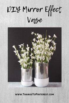 DIY Mirror Effect Vase - a fun and easy DIY project. Spruce up an old vase in no time at all! Mirror Effect Spray Paint, Spray Paint Vases, Spray Paint Flowers, White Spray Paint, Painted Vases, Paint Cans, Dyi Flowers, Old Vases, Diy Arts And Crafts