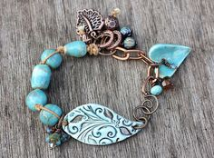 Turquoise ceramic beaded bracelet copper by KarenJaneJewellery