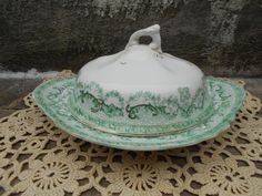 Antique Covered Butter Dish - Green covered veggie bowl - Colwyn England - Green Transferware - Covered Dish. $32.99, via Etsy.