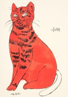 Andy Warhol (American, 1928-1987) Sam, from 25 Cats Named Sam and One Blue Pussy, circa 1954 Offset lithograph with hand-coloring on Mohawk paper