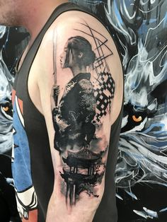 A beautiful phase 1 realism trash polka style cover up by tattoo artist Matti K