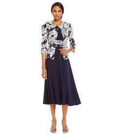 Jessica Howard Floral Swing Jacket Dress
