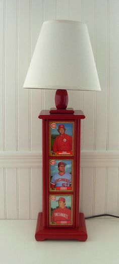 Baseball Card Lamp Vintage Cincinnati Reds by BarLightDesigns