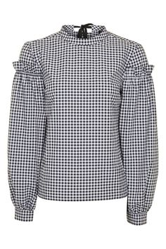 PETITE Gingham Mutton Sleeve Top - New In- Topshop
