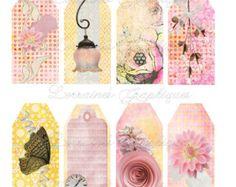 Tags Digital flacos Floral antiguas por LorrainesGraphiques en Etsy
