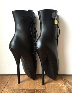 18cm Fetish Lockable Ballet Boots Mini Padlock Matte Black Restrain Slave Roleplay
