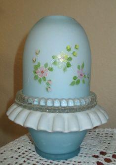Vintage Fenton art glass blue overlay fairy lamp light Making Glass, Fairy Lamp, Fenton Glass, Glass Company, Glass Wall Art, Small Flowers, Dollhouse Furniture, Textured Walls, Fairy Lights
