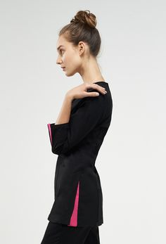 top from - the coco Spa Uniform, Uniform Ideas, Coco Fashion, Fashion Beauty, Pink, Jackets, Tops, Style, Down Jackets
