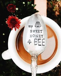 My Sweet Honey Bee A sweet gift for yourself or loved one. All stamped kitchen accessories are made with vintage silver plated flatware that I find at local antique and vintage thrift stores around town. I stamp each one by hand, letter by letter. All of my products are stamped by