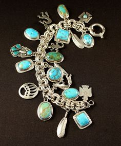 Sterling Silver Bracelets Turquoise and Sterling Silver Charm Bracelet on Sterling Silver Rope Link Chain - 925 Sterling Silver Charms Gold Plated Family Tree of Life Pendant Comes with jewelry silver polishing cloth Hole Sizes gram Vintage Charm Bracelet, Silver Charm Bracelet, Silver Charms, Sterling Silver Bracelets, Silver Earrings, Silver Ring, Charm Bracelets, Silver Plate, Southwest Jewelry