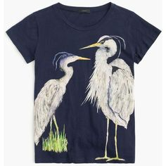 J.Crew Blue heron art T-shirt ($40) ❤ liked on Polyvore featuring tops, t-shirts, cotton t shirts, loose fitting tops, loose cotton tops, blue t shirt and loose fit tops