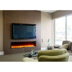 Features: -LED electric fireplace insert with colorful flame effect. -Clean lines. Product Type: -Fireplace Insert Only. Wall Mounted Fireplace, Linear Fireplace, Concrete Fireplace, Home Fireplace, Fireplace Remodel, Fireplace Inserts, Modern Fireplace, Fireplace Design, Fireplace Ideas