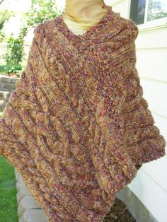 Cabled Pancho  @logicallyliz1229.etsy.com Fun way to try out stitch patterns