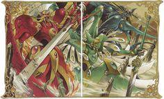 Da esquerda para a direita: Rayearth, Windom e Ceres.  Mechas fodões de Rayearth. Sim, eu assistia desenho de menina e me amarrava!
