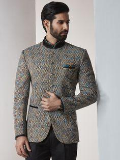 Shop Beige color jodhpuri suit for party function online from India. Wedding Dresses Men Indian, Wedding Dress Men, Wedding Suits, Wedding Men, Mens Fashion Blazer, Mens Fashion Wear, Suit Fashion, Blazer For Men Wedding, Prince Suit