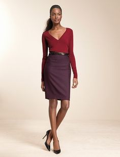 Sassy! Sweater, $39.90, and pencil skirt, $69.95, at The Limited.