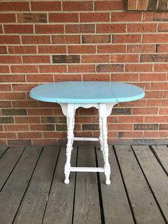 Vintage Drop Leaf Gate Leg Solid Wood Oval Top Table Side
